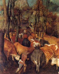 1565-Pieter-Bruegel-the-Elder-The-Re-entry-of-the-Herds-autumn-Detail-the-herd